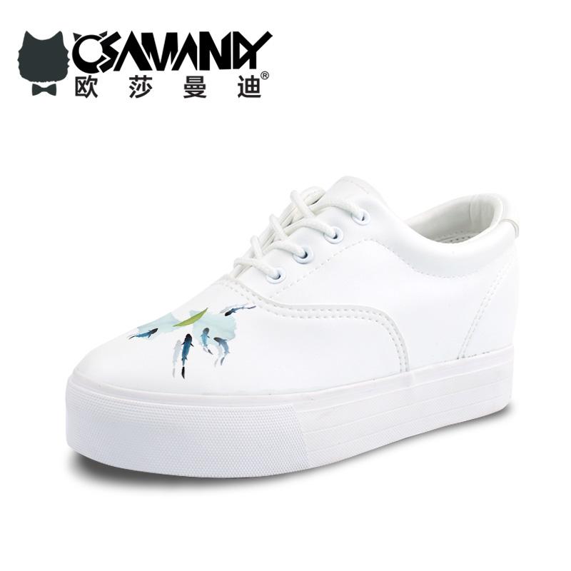 春季新款韩版厚底内增高皮面帆布鞋低帮系带百搭小白鞋学生女鞋潮