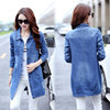 2018 spring new large size women's fat mm200 kg denim jacket female loose was thin in the long section of the cave