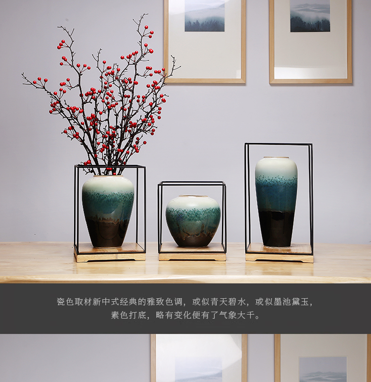 Jingdezhen ceramics vase manual sitting room porch dried flowers flower arrangement of Chinese style household creative decorations furnishing articles