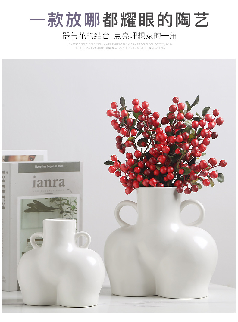 Ins Nordic body modelling white ceramic vases, I and contracted dried flowers home sitting room porch place