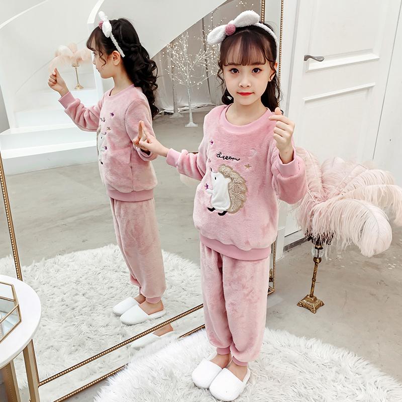 儿童睡衣秋冬季法兰绒女童珊瑚绒套装宝宝绣花加厚女孩公主家居服