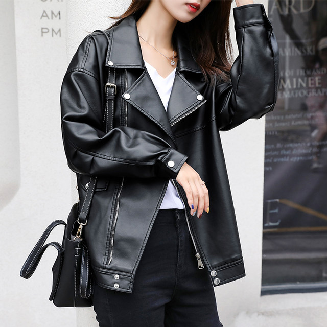PU leather jacket 2019 new spring and autumn winter casual loose Korean student motorcycle short leather jacket women