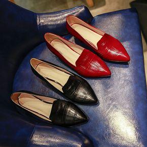 新款尖头漆皮平底鞋舒适软底百搭
