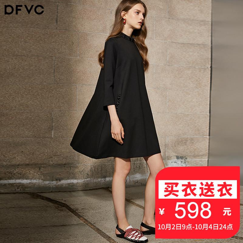 dfvc秋季氣質寬松連衣裙女2018新款中長款七分袖A字小黑裙套頭