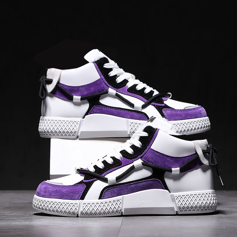5501 White Purple - Leather High Support