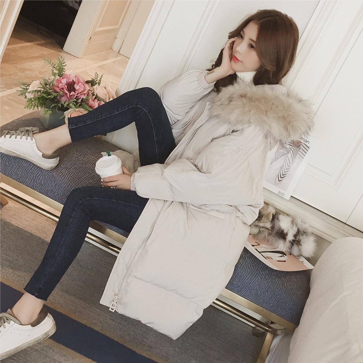 反季羽绒棉服加厚外套女冬面包服棉袄2018韩版chic中长过膝bf棉衣