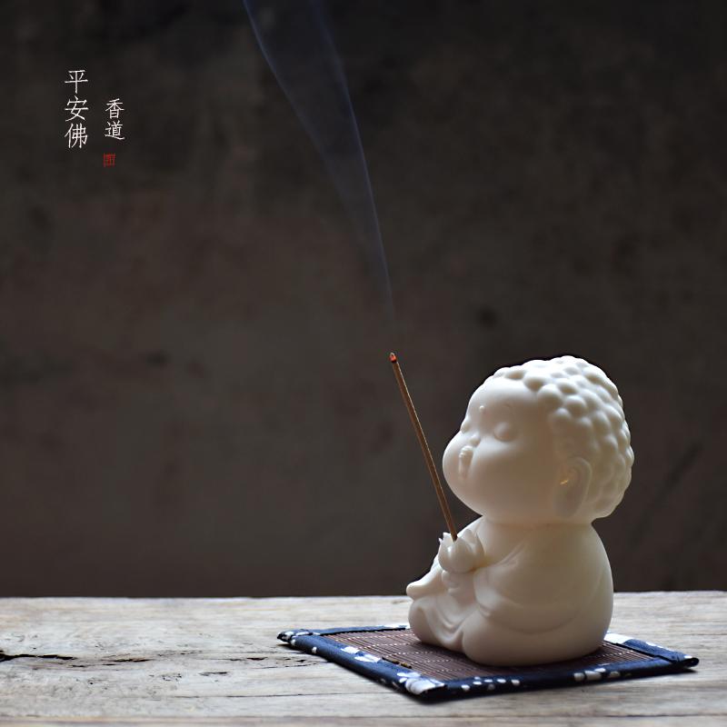 创意现代中式陶瓷摆件线香插檀香座家用佛像香薰炉如来插香器托盘