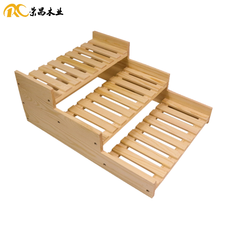 Rongchang Wooden Cake Shop Exhibition Stand Ladder Type Bread Rack Three Layer Wooden Bread Rack Pastry Rack Baking Soft