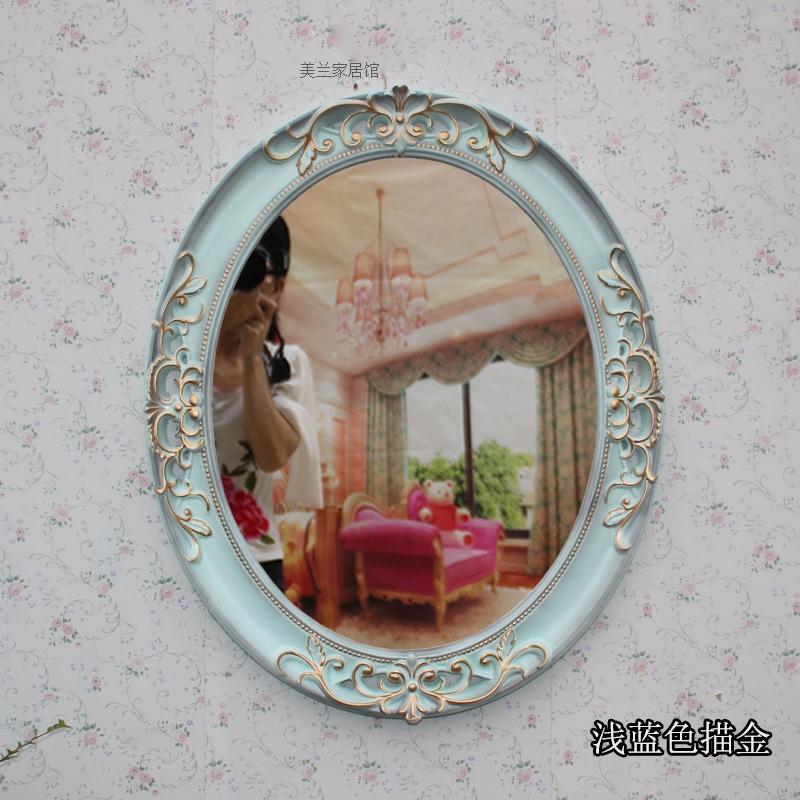 欧式梳妆浴室镜装饰高清卫生间镜防水台壁挂镜复古厕所镜洗脸镜