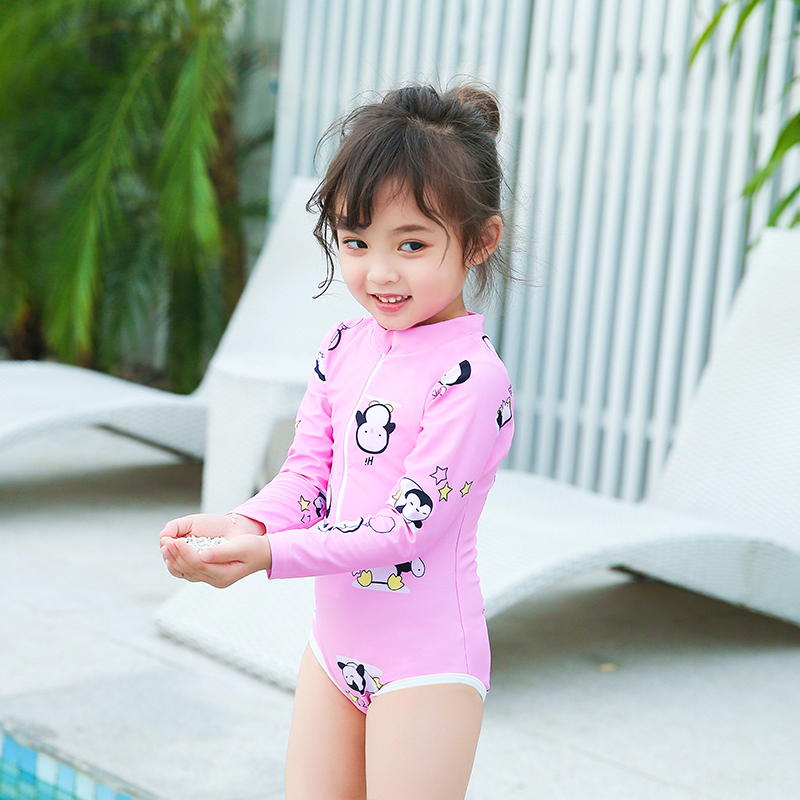 64cd43a5f7 Long-sleeved sunscreen female Baby One-Piece Swimsuit small children Girl  1-3 years old Korean children's swimsuit one-piece