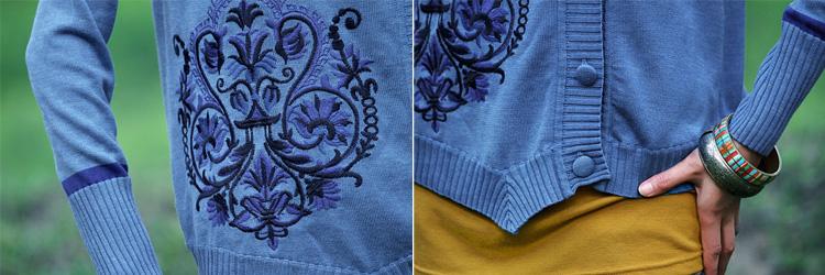 裂帛 裂帛正品 2015秋裝新款 女 繡花針織衫 開衫外套23160037浮桑初