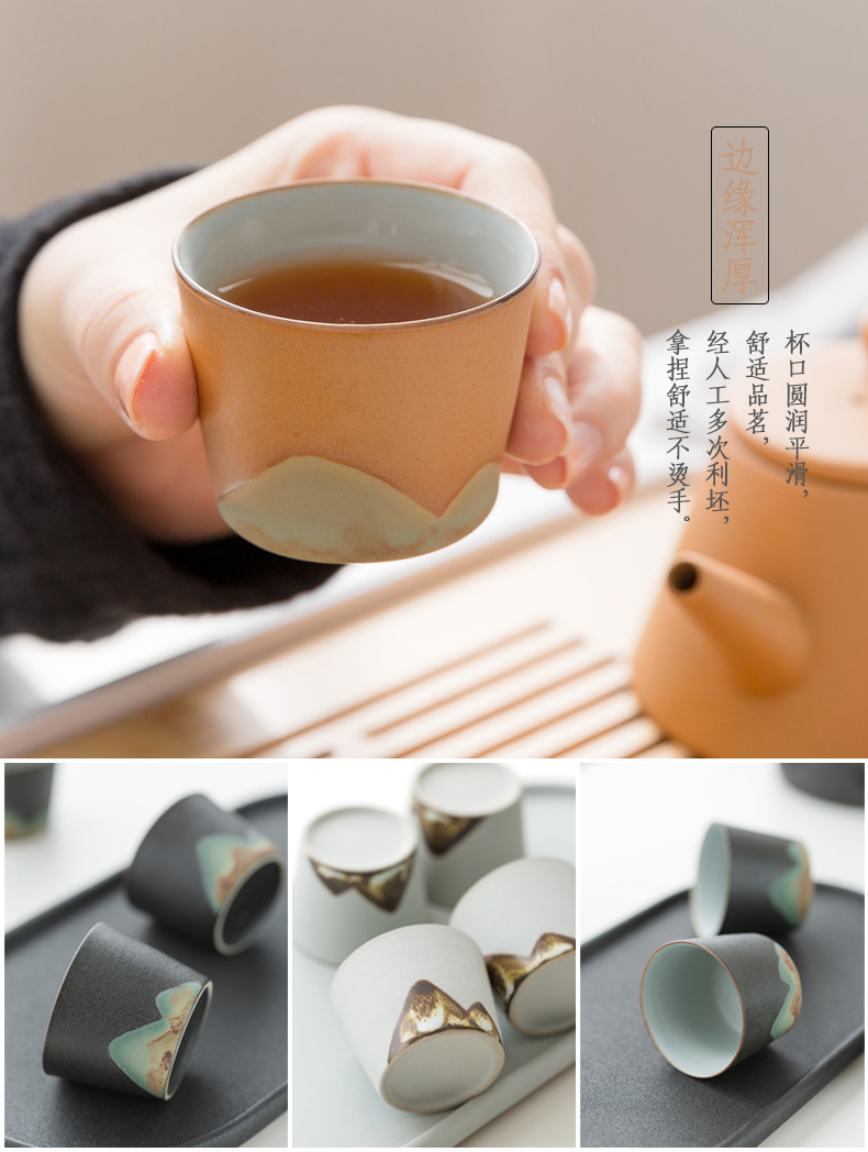 一品仟堂 整套黑石釉陶瓷茶壶茶杯套装简约家用功夫茶具一壶四杯
