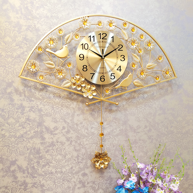 Chinese fan-shaped watch wall clock living room modern ...