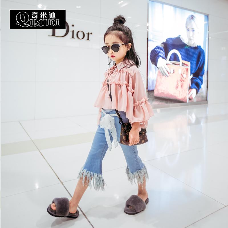 奇米色女色色_奇米迪童装女童秋装2016新款甜美木耳边儿童衬衫可爱层次感娃娃衫
