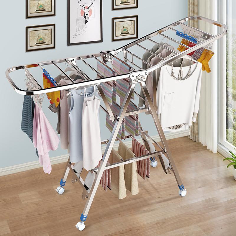 不銹鋼晾衣架落地折疊臥室內家用陽臺曬被子神器涼掛衣服架桿曬架