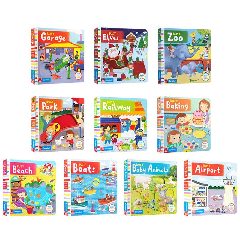 英文原版 10冊 Busy books系列 繁忙碌的紙板機關操作書 Busy zoo/park/beach/Garden