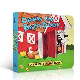进口英文原版绘本OpenTheBarnDoorFindaCow农场动物认知拟声词趣味翻翻纸板书0-3岁儿童启蒙益智幼教亲子互动玩具图画书