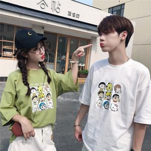 實拍6535棉 2019夏季KT貓印花T恤韓版寬松短袖男女學...