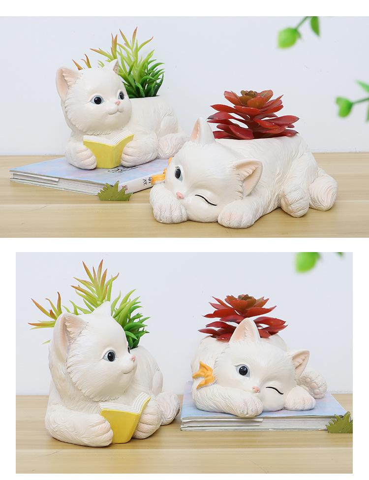 花盆多肉花盆套裝組合新款爆盆可愛動物造型貓咪大號創意卡通個性盆栽盆
