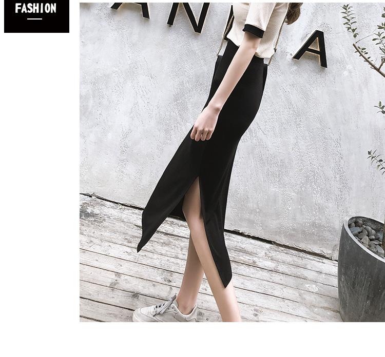 半身裙女春夏流行新款中长版开口高腰长裙开叉一步黑包臀裙子详细照片