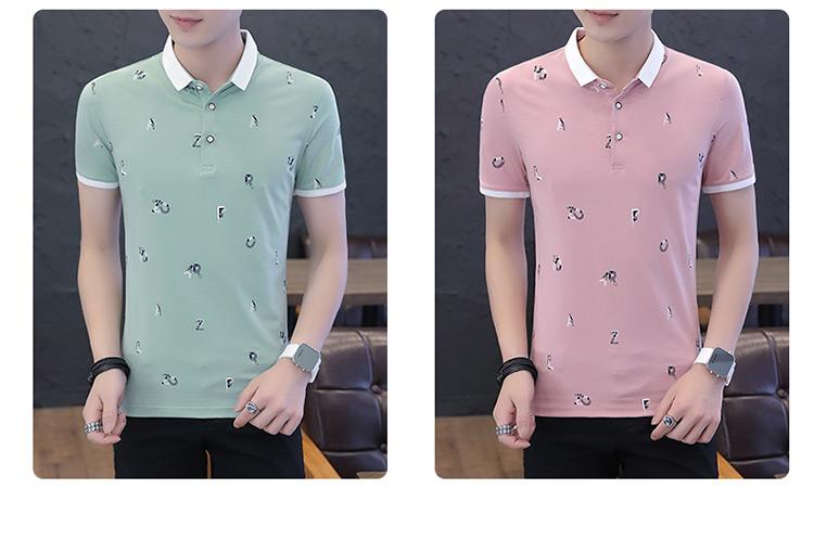 Mùa hè cotton ngắn tay t-shirt thanh niên ve áo nhỏ POLO áo sơ mi kinh doanh người đàn ông giản dị của hoa khâu T-Shirt triều áo thun nam có cổ hàng hiệu