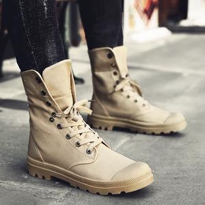 Martin khởi động nam mùa thu của nam giới giày Hàn Quốc canvas nam giày của nam giới ngắn khởi động xu hướng giày cao sa mạc khởi động khởi động quân sự