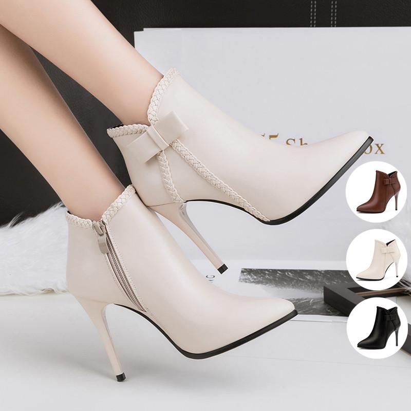 短靴女细跟高跟鞋2018秋冬新款欧美时尚简约尖头马丁靴加绒及踝靴