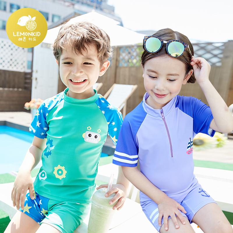 夏季卡通儿童泳衣女孩分体男童女童小学生游泳衣连体泳装套装八