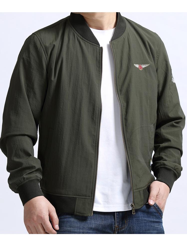 Kích thước lớn của nam giới áo khoác mùa xuân và mùa thu phi công chất béo giản dị quần áo giản dị trên mùa thu thủy triều triều cộng với phân bón để tăng áo khoác