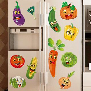 Творческий овощной холодильник протектор паста мультики милый 3d трехмерный ворота наклейки самоклеящийся кухня декоративный наклейка съемный кроме, цена 150 руб