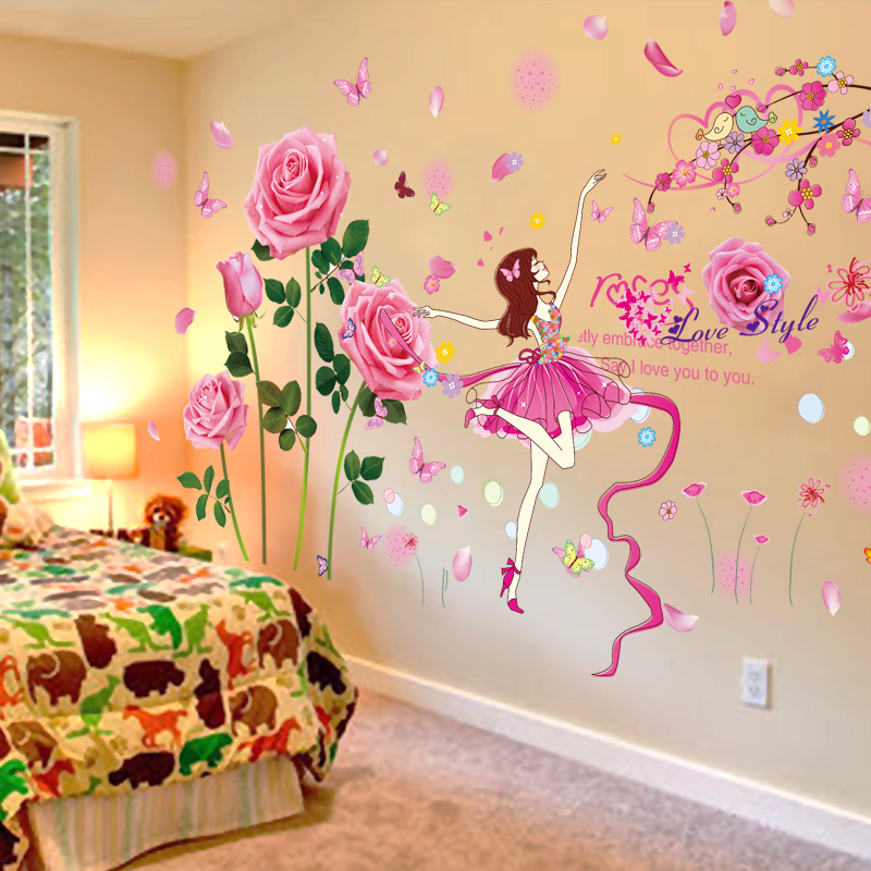 3D Wall Stickers Wallpaper Self Adhesive Bedroom Warm Girl Children Room Decoration Creative Painting