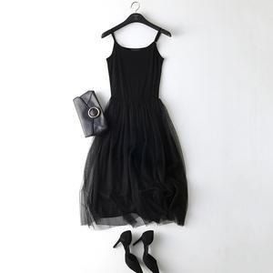 背心裙女网纱长裙吊带裙蕾丝连衣裙