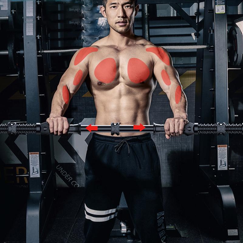 家用男士可调节臂力棒30-80KG胸肌训练拉力器握力弹簧棒运动用品