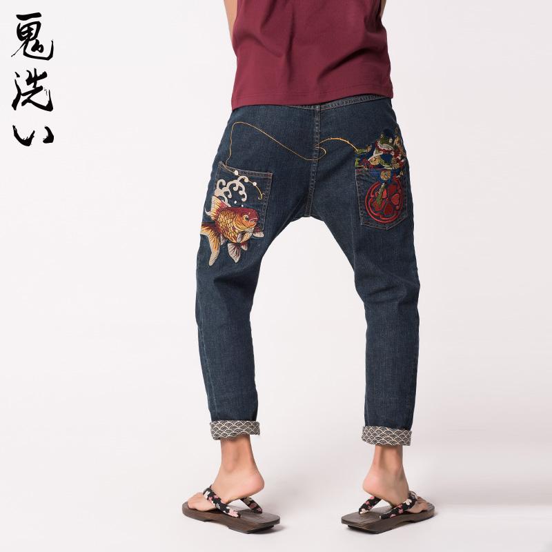 oniarai鬼洗 秋季新品印花刺繡牛仔褲男 泥棒藍趣味落檔褲 7N0443