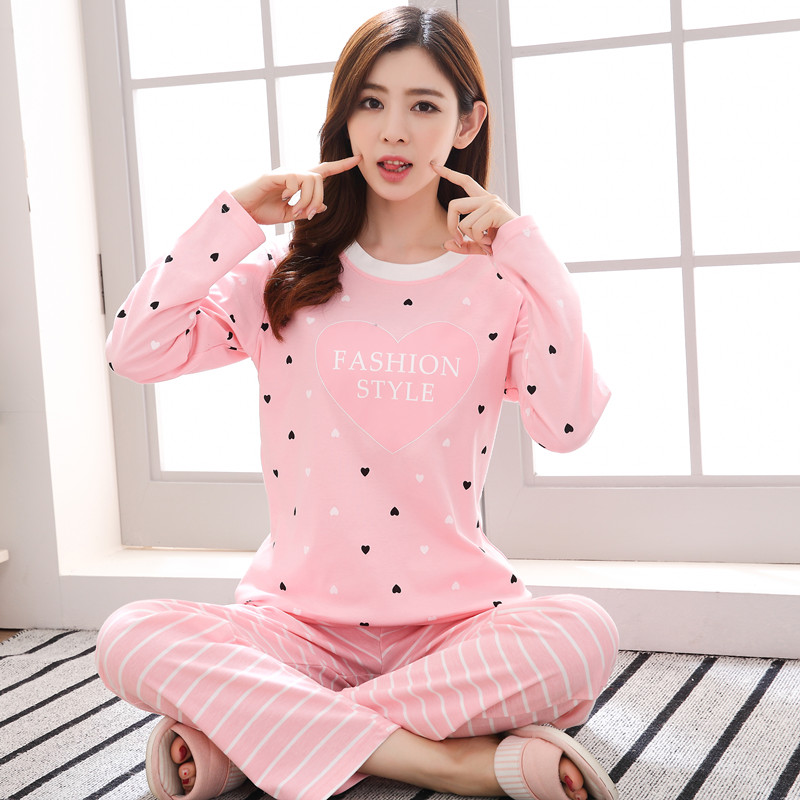 efe14cb598d4 ... Korean version of the large size. Cotton spring and autumn pajamas  women fall long-sleeved pants cute fresh students home service. Zoom ·  lightbox ...