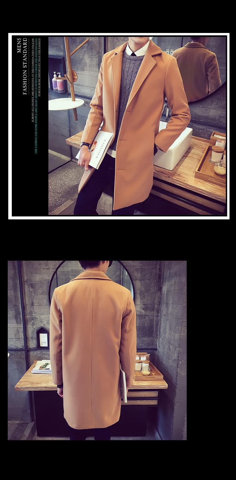Nam dài áo gió nam mùa thu và mùa đông Hàn Quốc phiên bản của tự trồng áo khoác len của nam giới len quần áo xu hướng