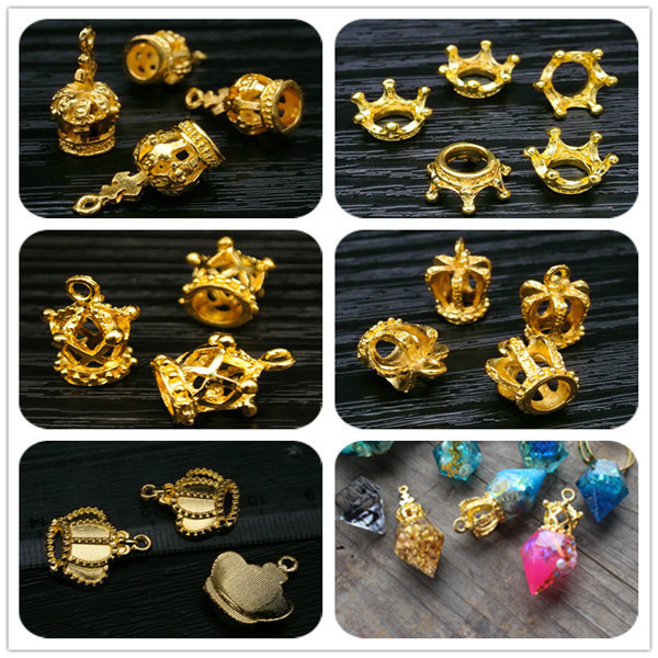 DIY handmade retro alloy jewelry accessories Crown UV epoxy accessories golden crown pendant magic stick decoration