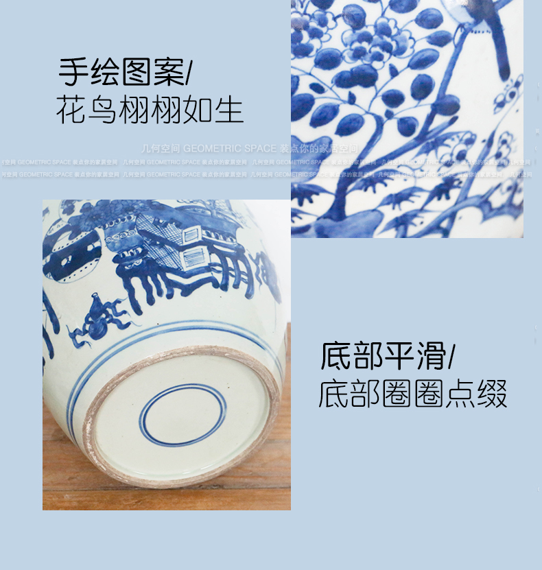 New Chinese style hand made blue and white porcelain ceramic white gourd storage tank classical home porch example room adornment is placed