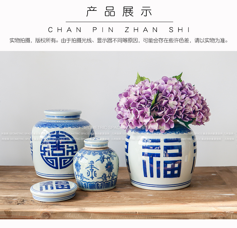 Chinese style restoring ancient ways is blue and white live long and proper storage tank of pottery and porcelain antique do old porcelain tea room porch rich ancient frame furnishing articles
