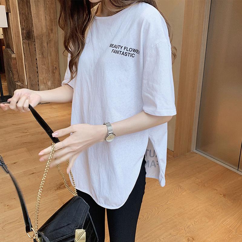 夏季新款韩版短袖白色t恤女宽松圆领百搭中长款学院风纯色上衣潮