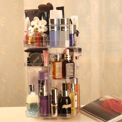 旋转化妆品收纳盒透明亚克力梳妆台口红护肤品桌面置物架美妆整理