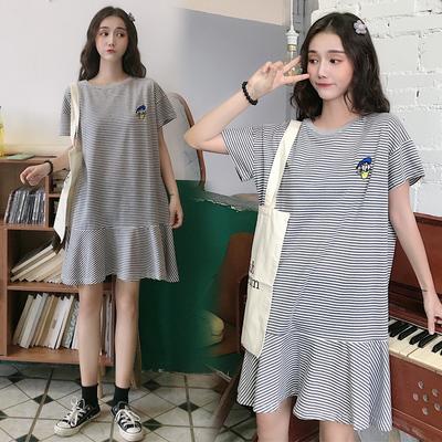 大码宽松孕妇装夏装中长款纯棉短袖条纹t恤200斤时尚款潮妈连衣裙