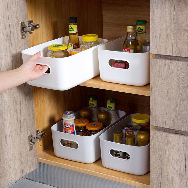 杂物收纳盒桌面塑料盒子浴室化妆品整理盒厨房储物盒零食收纳筐子
