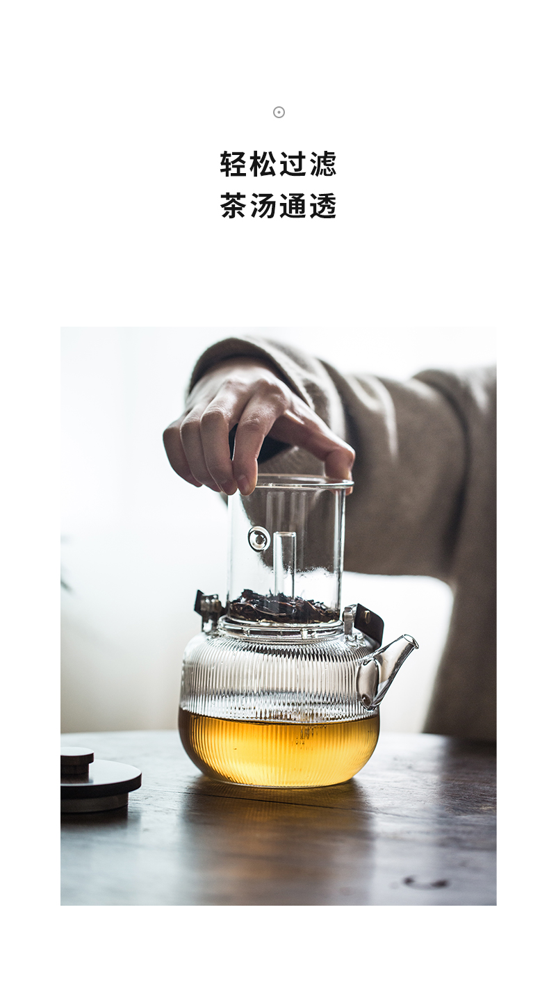 Cloud operation can be heated domestic high temperature resistant teapot the girder cooking tea, the electric TaoLu glass tea kettle boil the teapot
