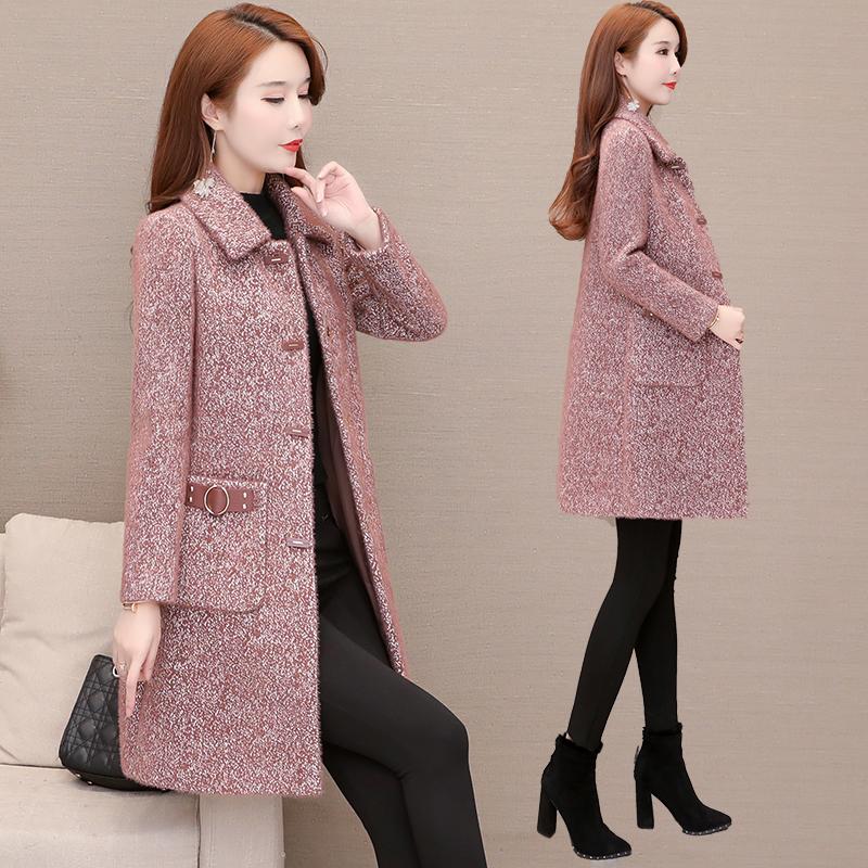 冬季新款贵夫人羊绒加厚仿水貂绒外套中长款妈妈女装宽松毛呢大衣