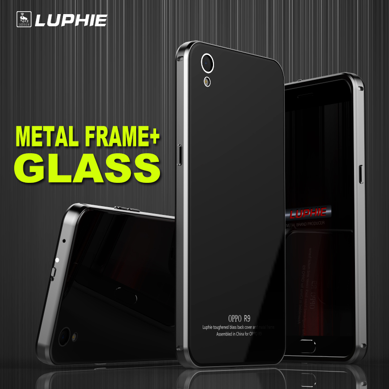 Luphie Aircraft Aluminum Metal Frame 9H Tempered Glass Back Cover Case for OPPO R9