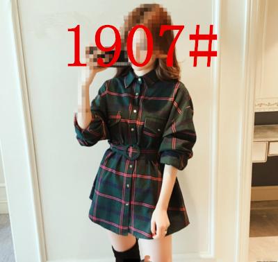 2019春新款韩版很仙的收腰洋气格子衬衫女港味学生长袖打底衬衣