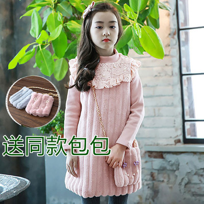 2017 autumn and winter plus velvet thickening girls dress in the long section of the Korean version of the children's large-sleeved plush princess dress