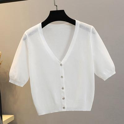 冰丝针织开衫女小披肩夏季短款亚麻防晒吊带外搭薄款配裙子的上衣