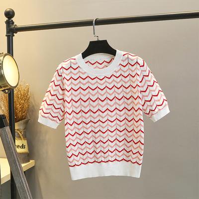 冰丝针织衫女短袖夏季薄款2021年新款条纹T恤上衣时尚短款打底